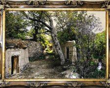 تابلو فرش دستبافت منظره کوچه باغ های زیبای سردرود - کد 725