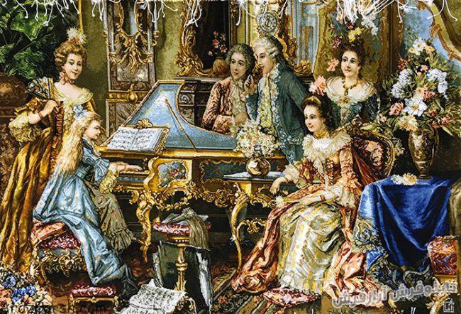 تابلوفرش دستبافت طرح پیانو زن - کد 738