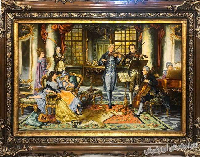 تابلو فرش دستبافت طرح فرانسوی مجلس موسیقی ویولون زن - کد 754