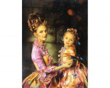 تابلو فرش دستبافت طرح مهر مادر ( مادر و دختر زیبا ) - کد 784