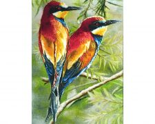 تابلو فرش دستبافت طرح دو پرنده زیبا روی شاخه درخت - کد 801