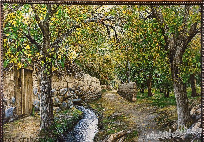 تابلو فرش دستبافت طرح کوچه باغ های قدیمی سردرود - کد 804