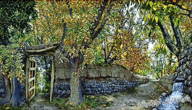 تابلو فرش دستبافت طرح منظره کوچه باغ های زیبای سردرود - کد 814