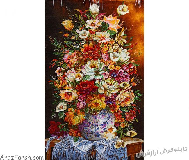 تابلو فرش دستباف طرح گل رز طولی زیبا - کد 816