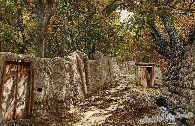 تابلو فرش دستباف طرح منظره زیبای کوچه باغ قدیمی - کد 817