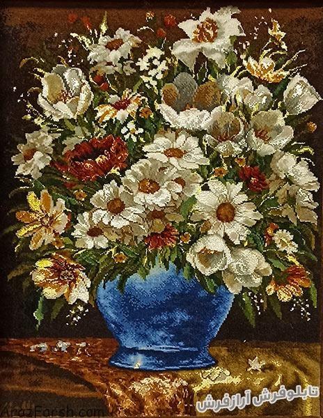 تابلو فرش دستبافت طرح گل و گلدان با گل بابونه - کد 820
