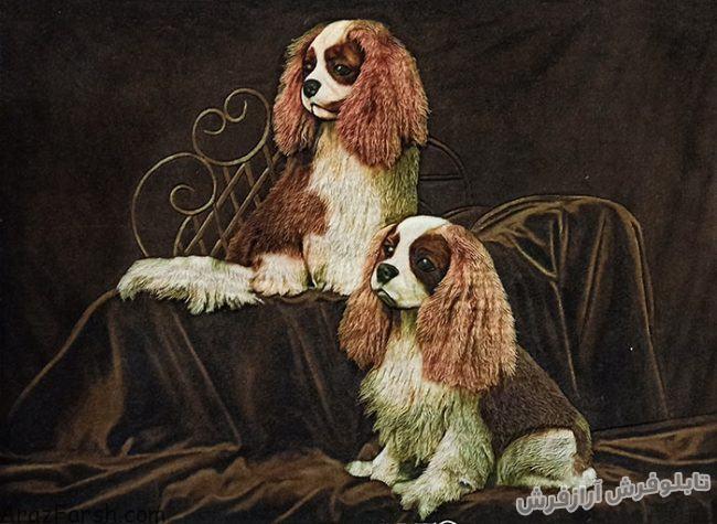 تابلو فرش کامپیوتری دستبافت طرح سگ های زیبا - کد 834