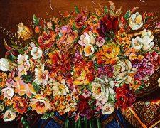 تابلو فرش دستبافت طرح جدید گل رز زیبا و رنگارنگ با سبد روی میز کد 850