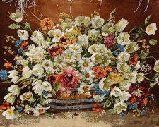 تابلو فرش طرح گل لاله و گل بابونه با سبد حصیری کد 854