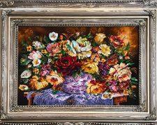 تابلو فرش دستباف طرح گل رز ترمه جدید کد 855