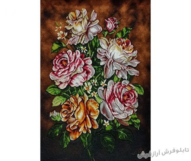 تابلو فرش دستبافت طرح شاخه گل رز - کد 864