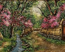 تابلو فرش دستبافت طرح منظره زیبای کوچه باغ بهاری شکوفه کد 865