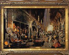 تابلو فرش دستباف طرح بازار مسگران کد 872