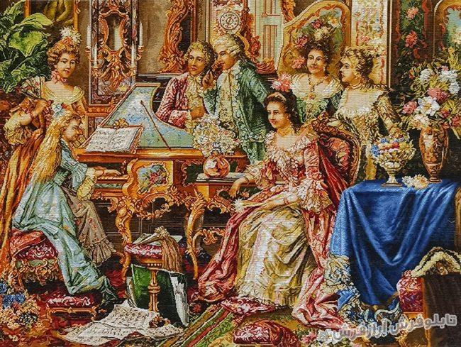 تابلو فرش دستبافت طرح فرانسوی دختر پیانوزن کد 883