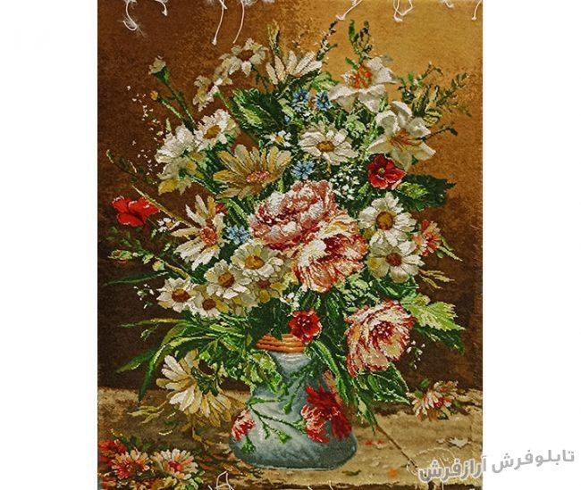 تابلو فرش دستبافت طرح گلدان گل بابونه کد 916