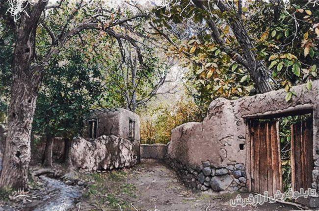 تابلو فرش دستباف طرح منظره کوچه باغ های قدیمی سردرود کد 926