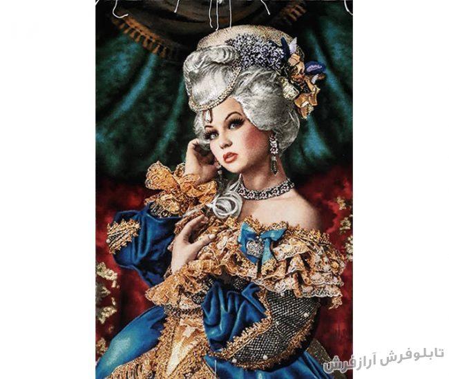 تابلوفرش دستباف تک چهره دختر طرح ملکه کد 927