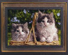 تابلو فرش دستباف طرح گربه های زیبا و سبد کد 949