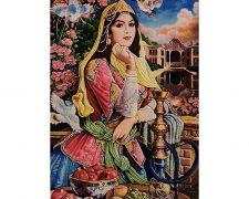 تابلوفرش طرح شرقی دختر قاجار کد 956