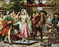 تابلو فرش دستبافت طرح فرانسوی مهریه عروس کد 1104