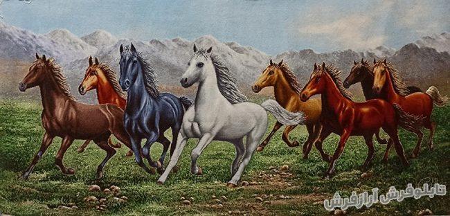 تابلو فرش دستبافت طرح گله اسب های وحشی کد 1108