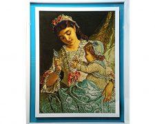 تابلو فرش دستباف طرح مهر مادر و دختر کد 1115