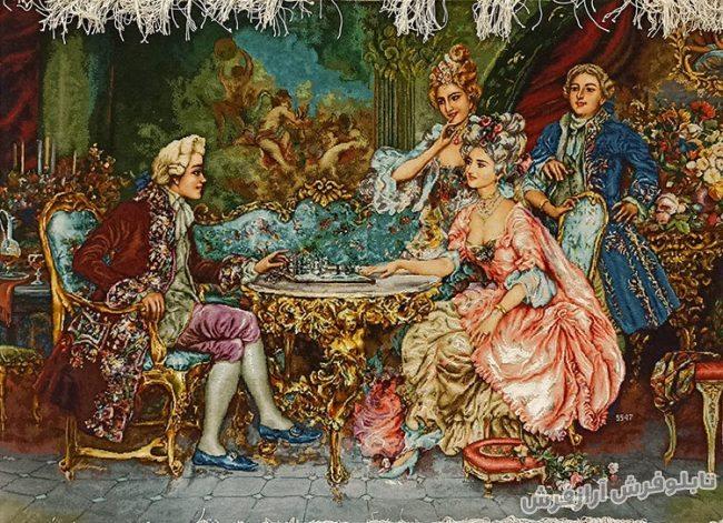 تابلو فرش دستباف طرح فرانسوی شطرنج باز کد 978