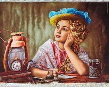 تابلو فرش دستباف و نفیس طرح خیال و رویای دختر بچه کد 1125