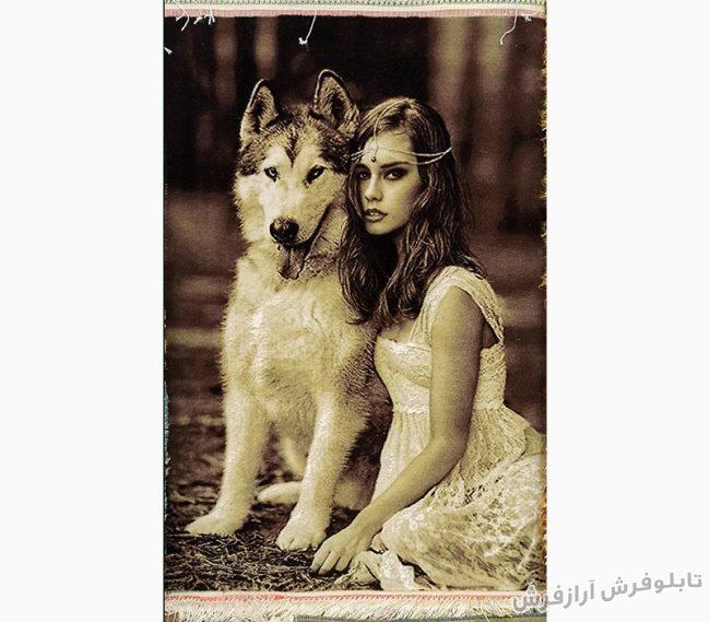 تابلو فرش دستباف طرح دختر سگ باز کد 1142