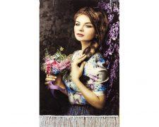 تابلو فرش دستباف طرح دختر گلفروش زیبا گل به دست کد 1162