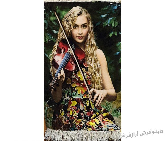 تابلو فرش دستبافت طرح دختر ویولون زن کد 1164