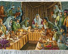تابلو فرش دستباف طرح شام آخر حضرت عیسی مسیح کد 1165