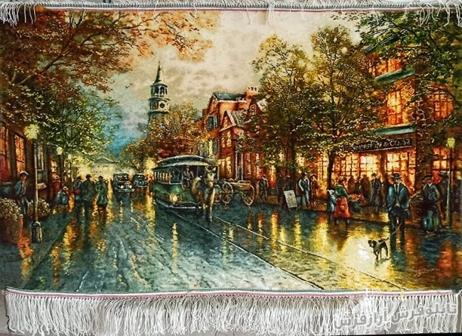 تابلو فرش دستباف طرح منظره خیابان شانزلیزه پاریس (فایطون) کد 1168