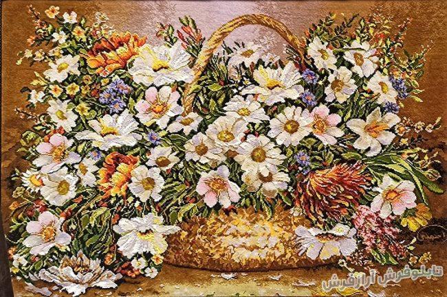 تابلو فرش دستباف طرح سبد گل های بابونه زیبا کد 1175