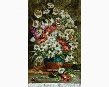 تابلو فرش دستباف طرح گلدان سفالی گل لاله و گل بابونه کد 1177