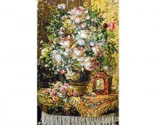 تابلو فرش دستباف طرح گل ساعت کد 1184