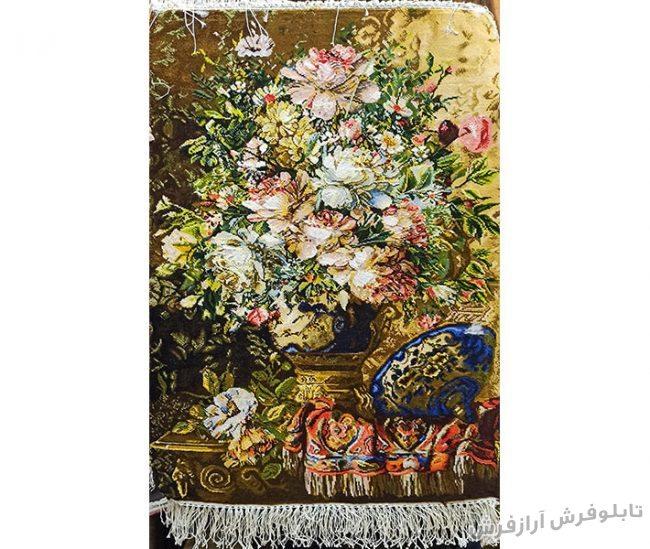 تابلو فرش دستبافت طرح گل رز با گلدان قندان کد 1186