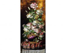 تابلو فرش دستباف طرح گل رز ستونی با ترمه و گلدان زیبا کد 1189