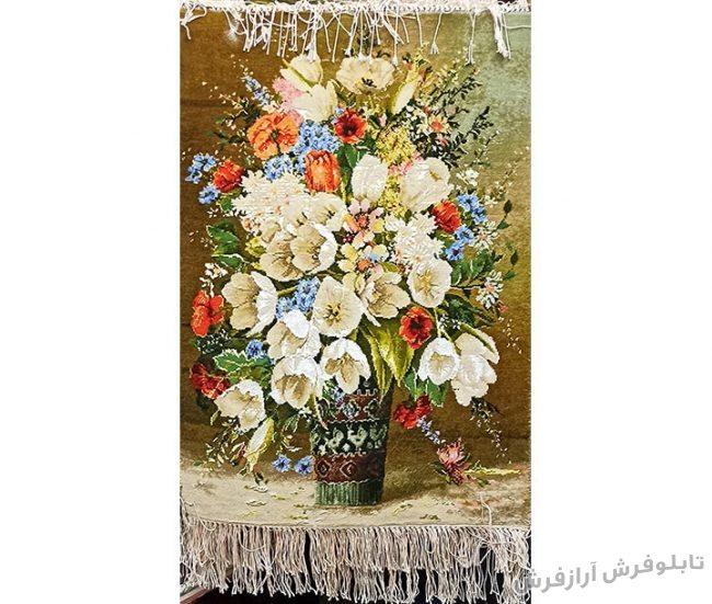 تابلو فرش دستباف طرح گلدان لیوانی گل لاله کد 1193