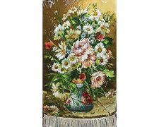 تابلو فرش دستباف طرح گلدان گل های رز و بابونه کد 1194