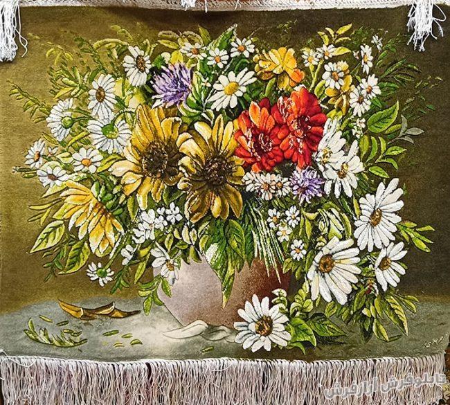 تابلو فرش دستباف طرح گلدان گل آفتابگردان کد 1204