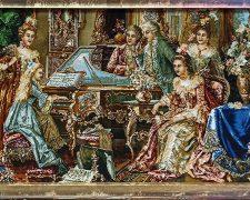 تابلو فرش دستباف تبریز طرح فرانسوی پیانو زن کد 1214