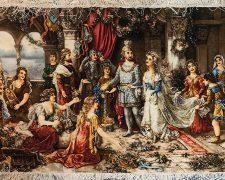 تابلو فرش طرح تاجگذاری سلیمان و ملکه سبا در قصر سلیمان کد 1210