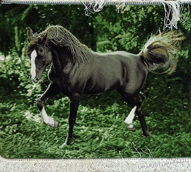تابلو فرش دستبافت طرح اسب سیاه و زیبا کد 1225