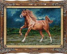 تابلوفرش دستبافت طرح اسب قهوه ای زیبا کد 1226