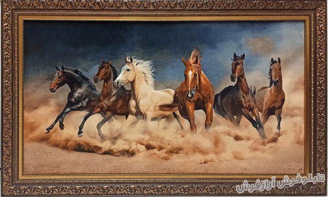 تابلو فرش دستباف طرح گله اسب های وحشی کد 1238
