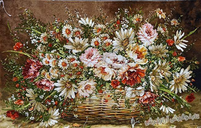 تابلو فرش دستباف طرح سبد گل کد 1251
